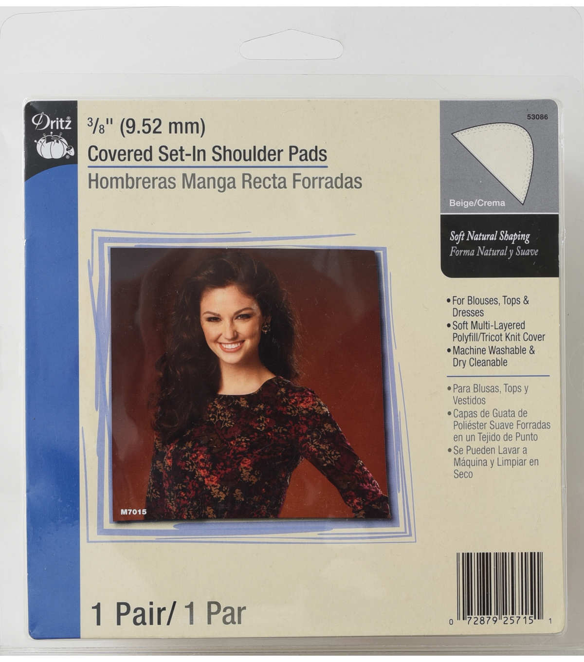 Dritz 0.38\u0022 Covered Set In Shoulder Pads Beige