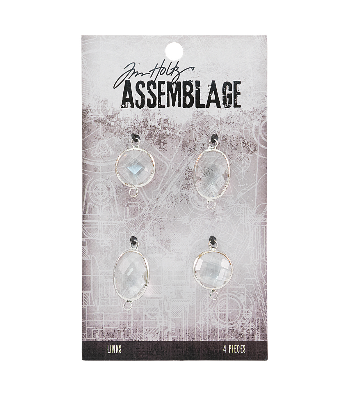 Tim Holtz® Assemblage 4 Pack Chandelier Silver Links-Clear Gem
