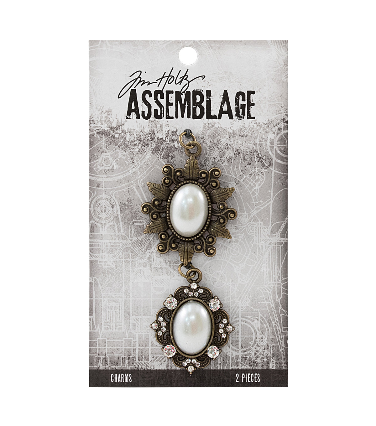 Tim Holtz® Assemblage Pack of 2 Oval Pearl Frames Charms