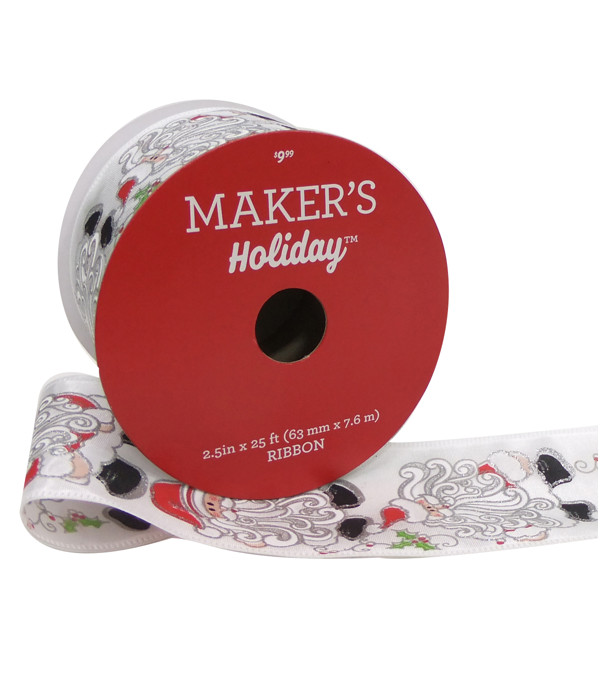 Maker's Holiday Christmas Ribbon 2.5''x25'-Whimsical Santa on White