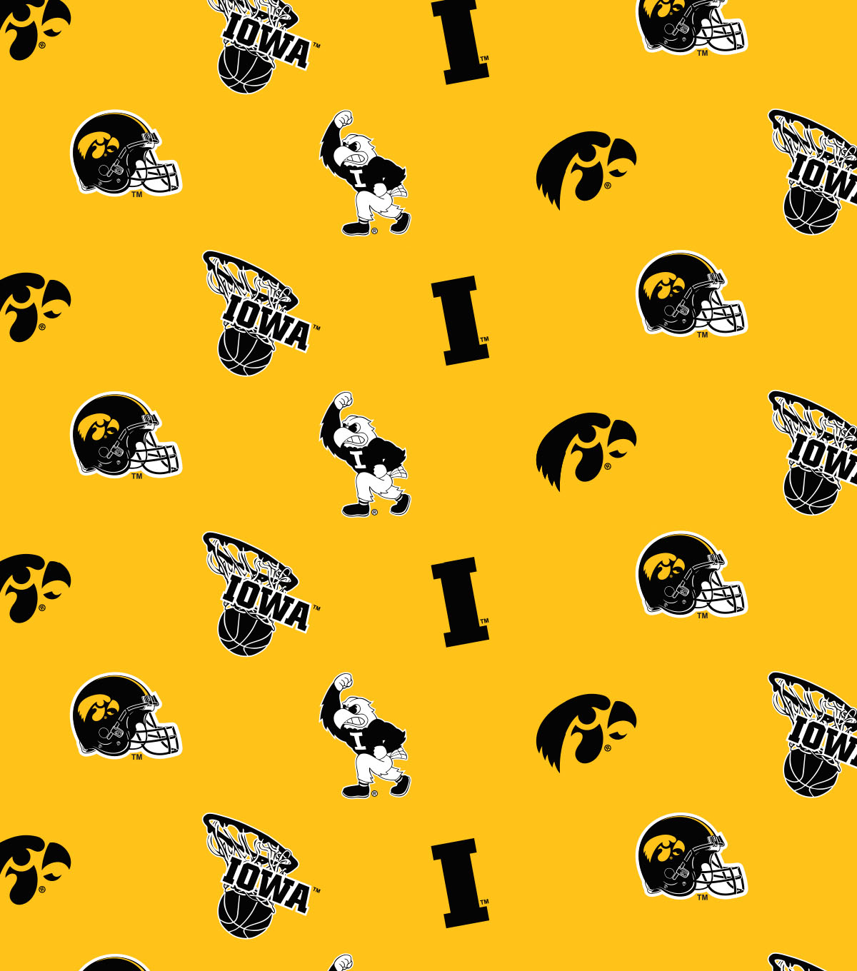 "University of Iowa Hawkeyes Cotton Fabric 44""-Yellow All Over"
