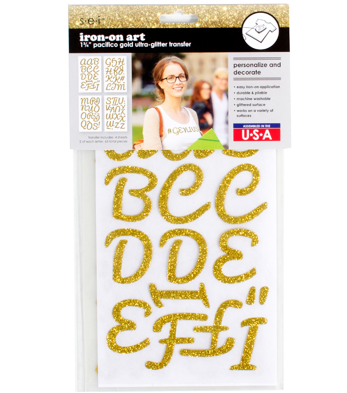 Sei Iron-on Art Ultra-Glitter Letters-Gold