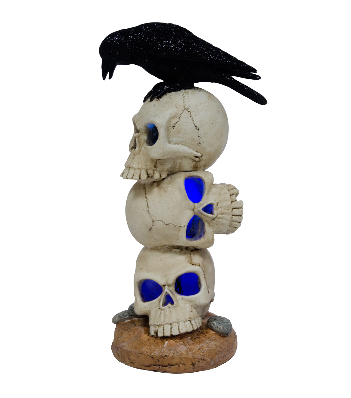 Maker\u0027s Halloween Stacked LED Skulls with Crow