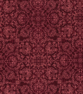 Vintage Cotton Fabric 43''-Floral Medallions on Red