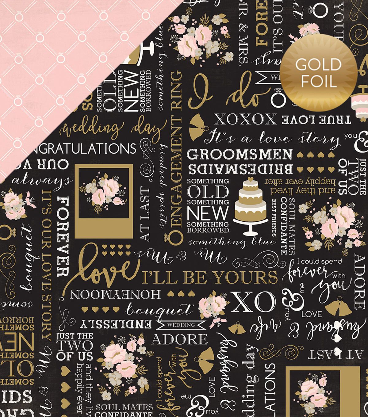 "Wedding Bliss Foiled Cardstock 12""X12""-True Love"
