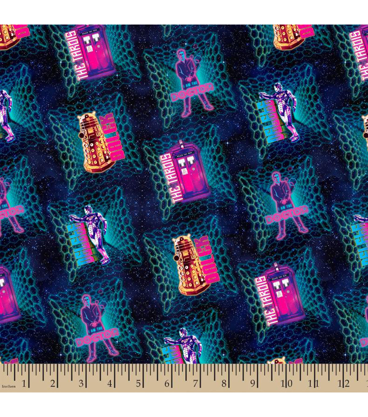 Doctor Who Cotton Fabric 43\u0022-Icons