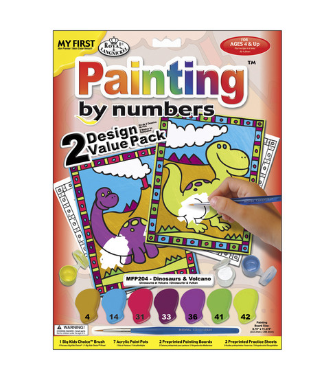 My First Paint By Number Value Kits-2PK/Dinosaurs & Volcano