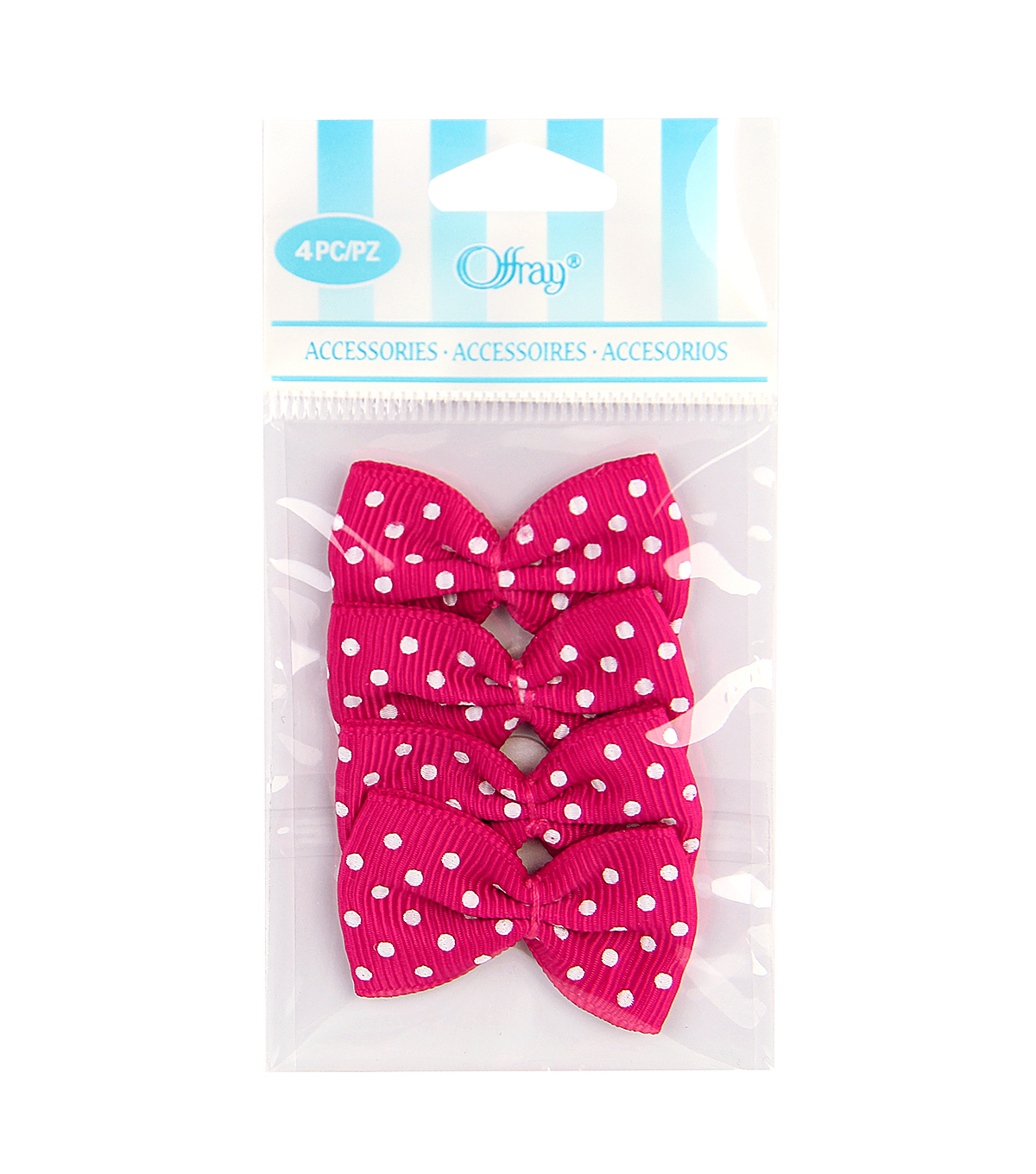 Mini Grosgrain Dot Bows 4Pk Hot Pink Ribbon