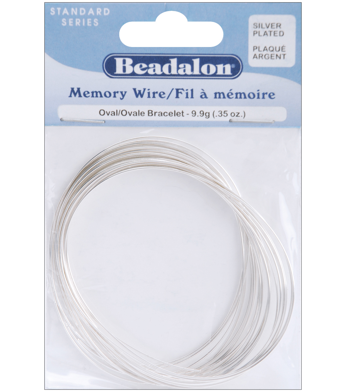 Beadalon Silver Plated Memory Wire Oval Bracelet.35 Oz/PK-Approx23Loops
