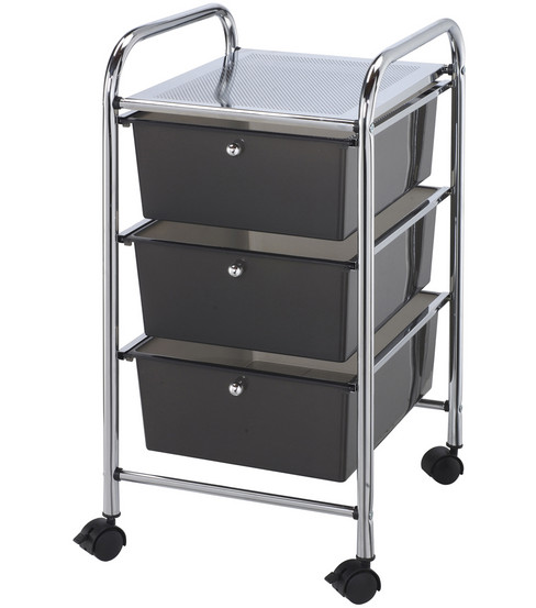 Storage Cart with 3 Drawers-Smoke