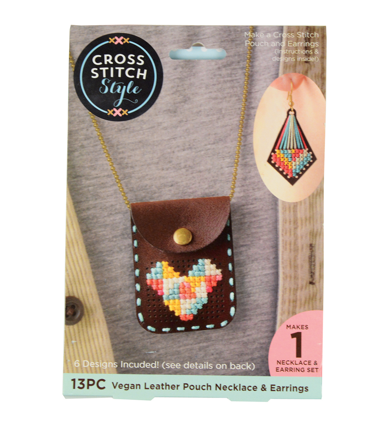 Cross Stitch Style Vegan Leather Pouch Necklace & Earrings