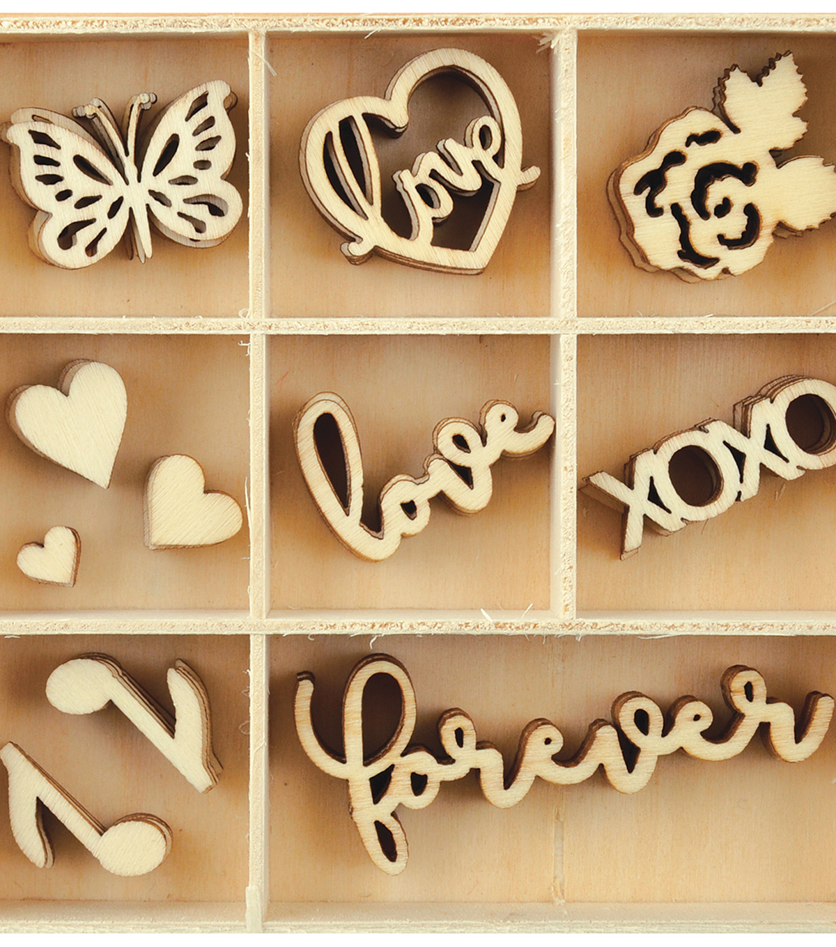 Themed Mini Wooden Flourishes-Love