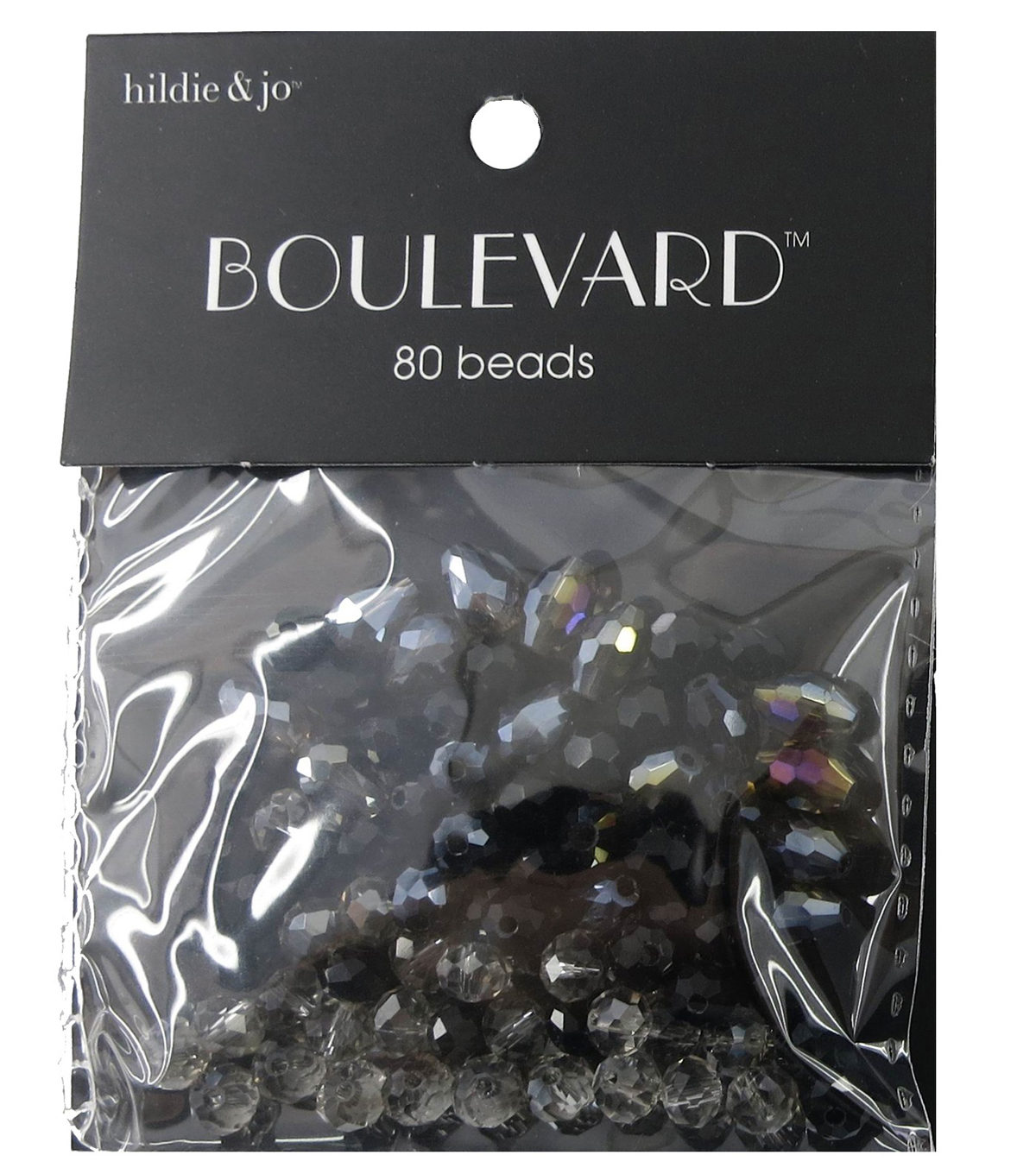 hildie & jo™ Boulevard 80 Pack Mixed Multi Sizes Glass Beads-Black