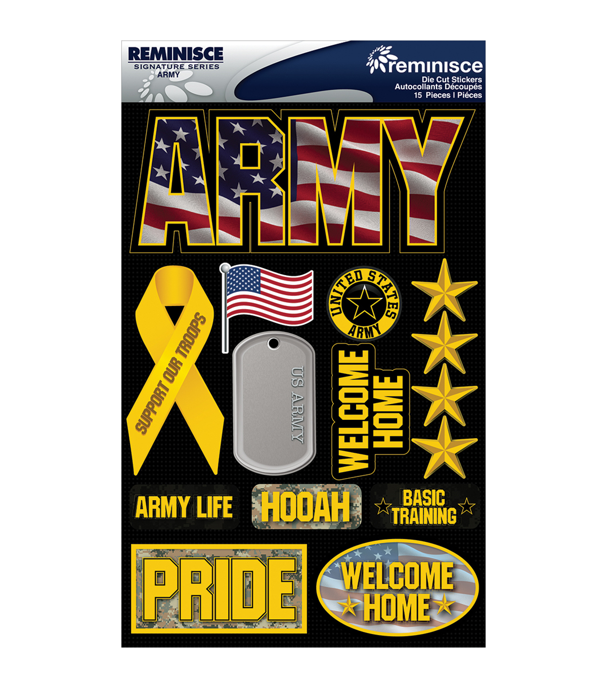 Reminisce Signature Dimensional Stickers Army