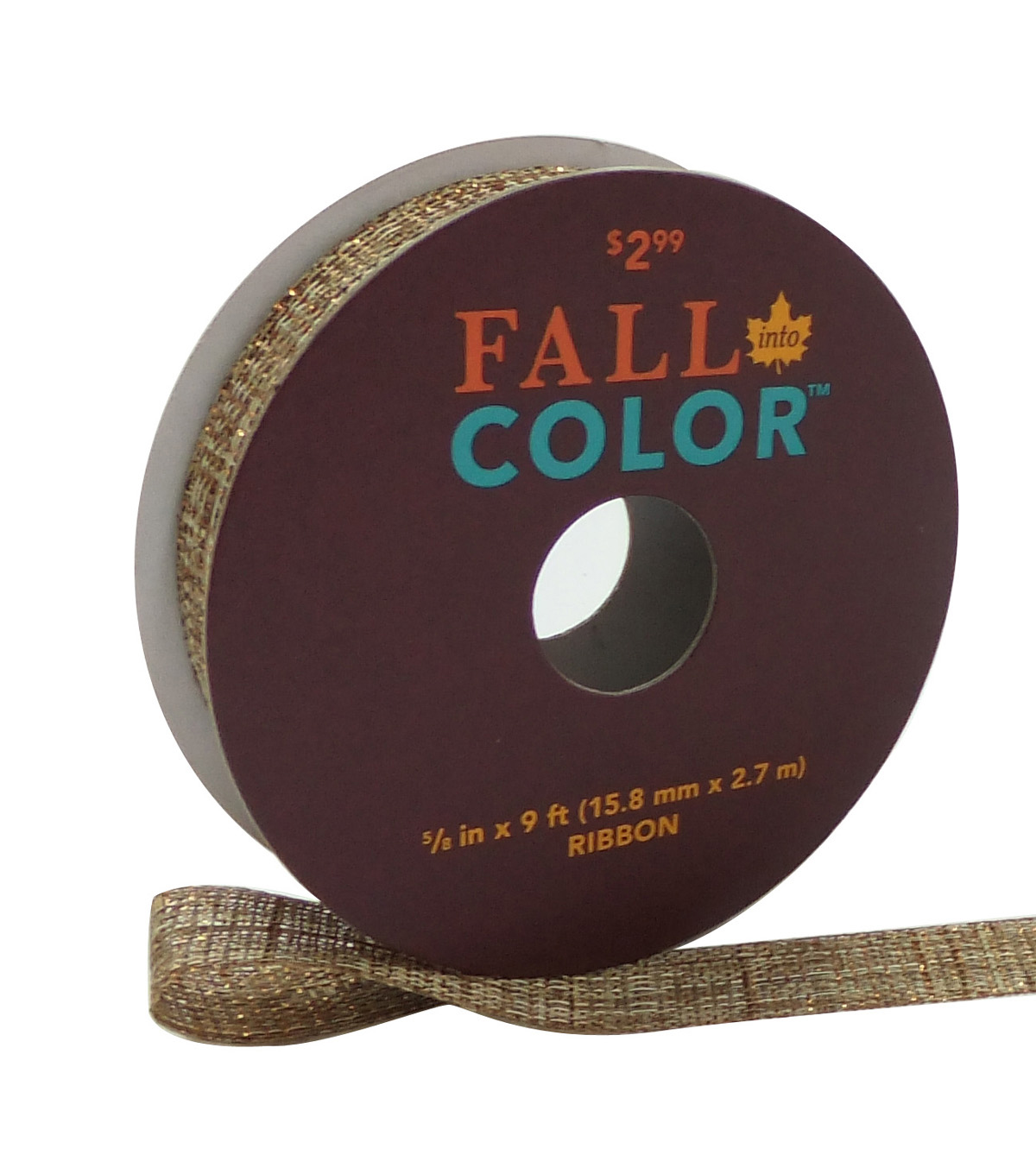 Fall Into Color Shimmer Ribbon 5/8''x9'-Nature