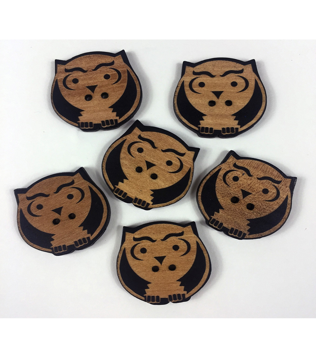 "Organic Elements Wood Buttons 1.25""-Owl"