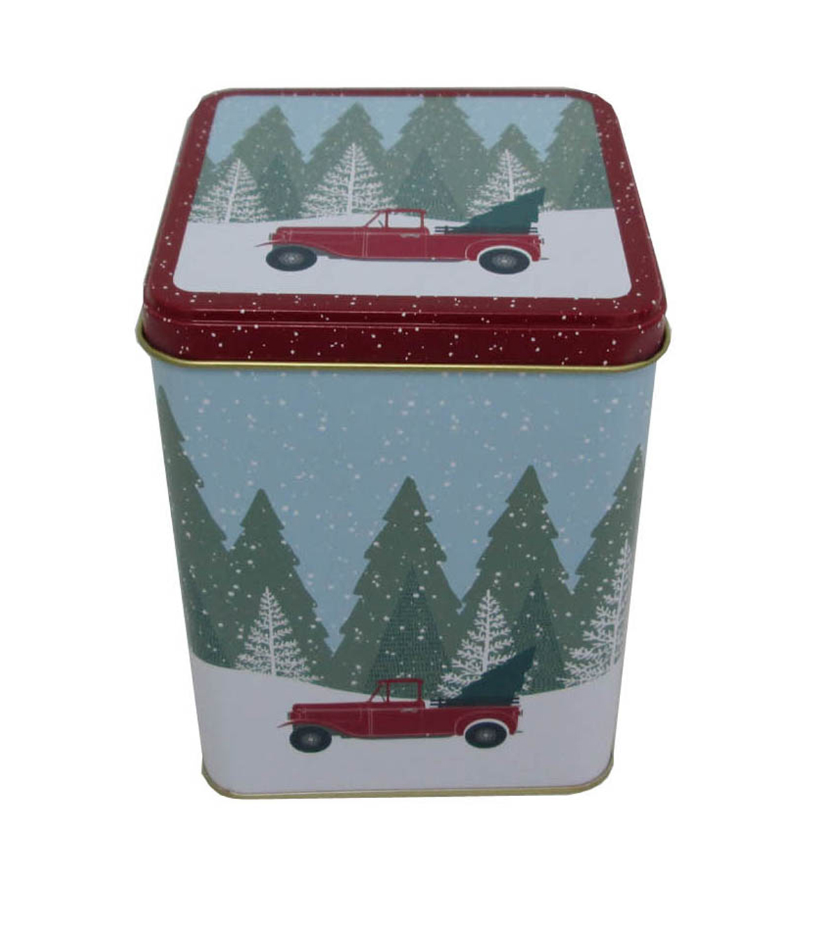 Maker\u0027s Holiday Christmas Large Square Solid Top Canister-Truck