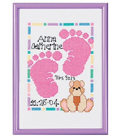Janlynn Special Moments Baby Foot Mini Cntd X-Stitch Kit With Frame