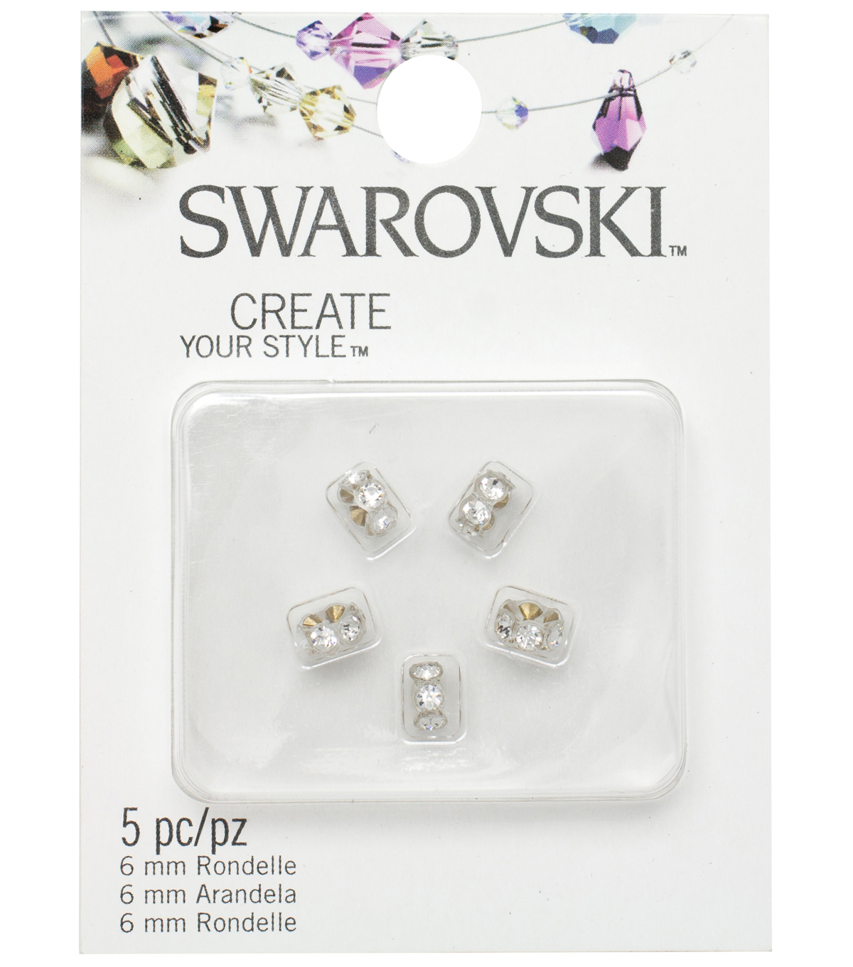 5mm Create Your Style Swarovski Roundelle Beads-Clear with Crystals