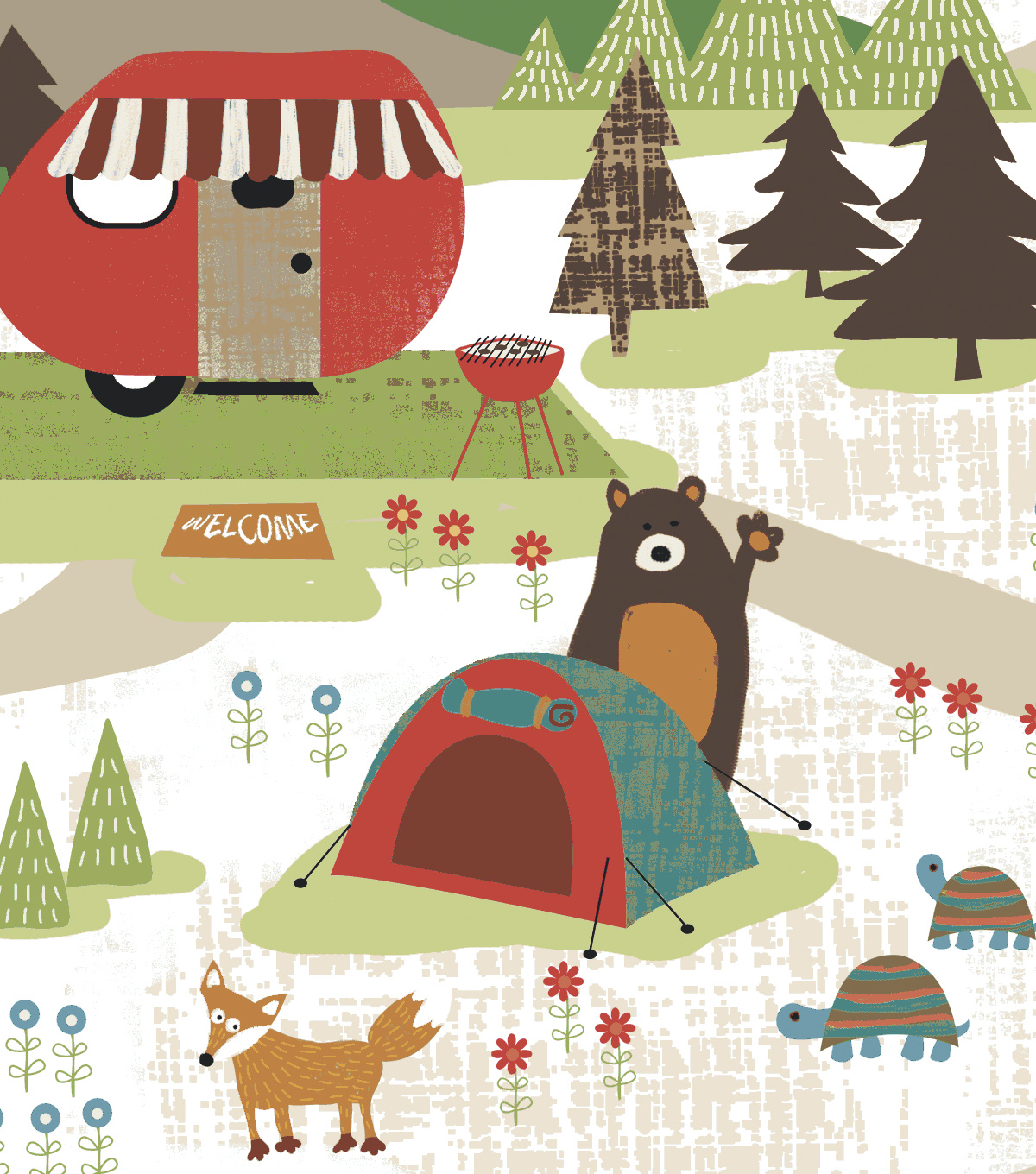 Snuggle Flannel Fabric 43\u0022-Campground On White