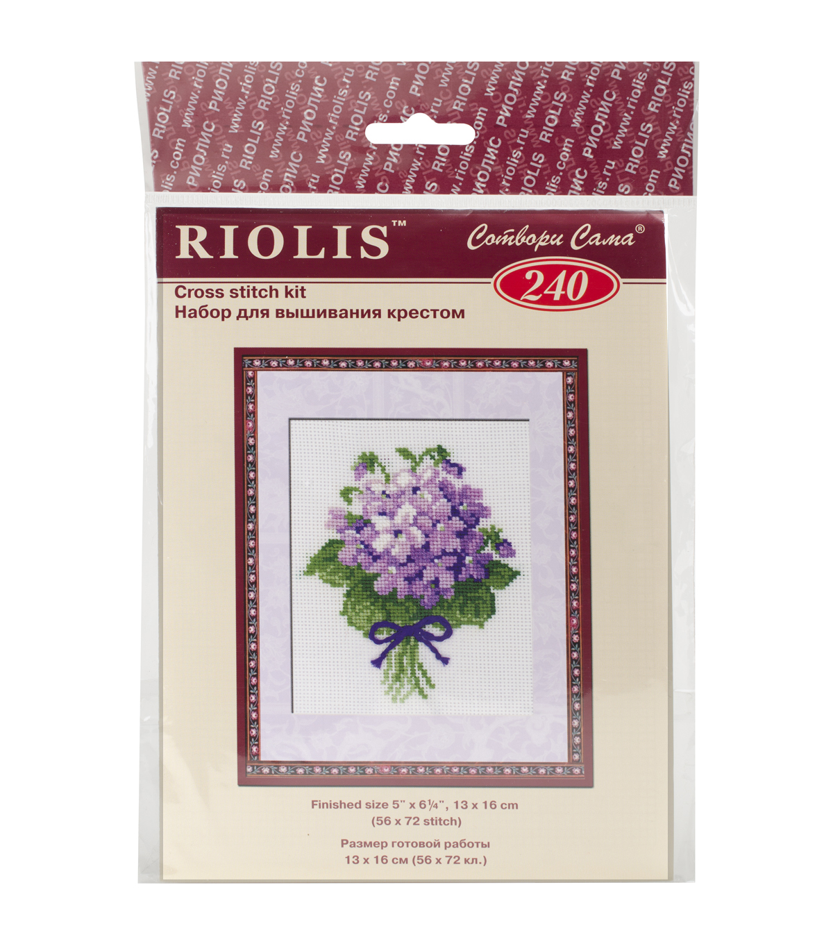 Violets Counted Cross Stitch Kit-5\u0022x6.25\u0022 16 Count