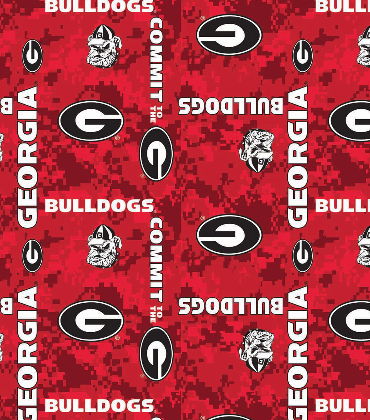 University of Georgia Bulldogs Fleece Fabric 60\u0022-Digital Camo