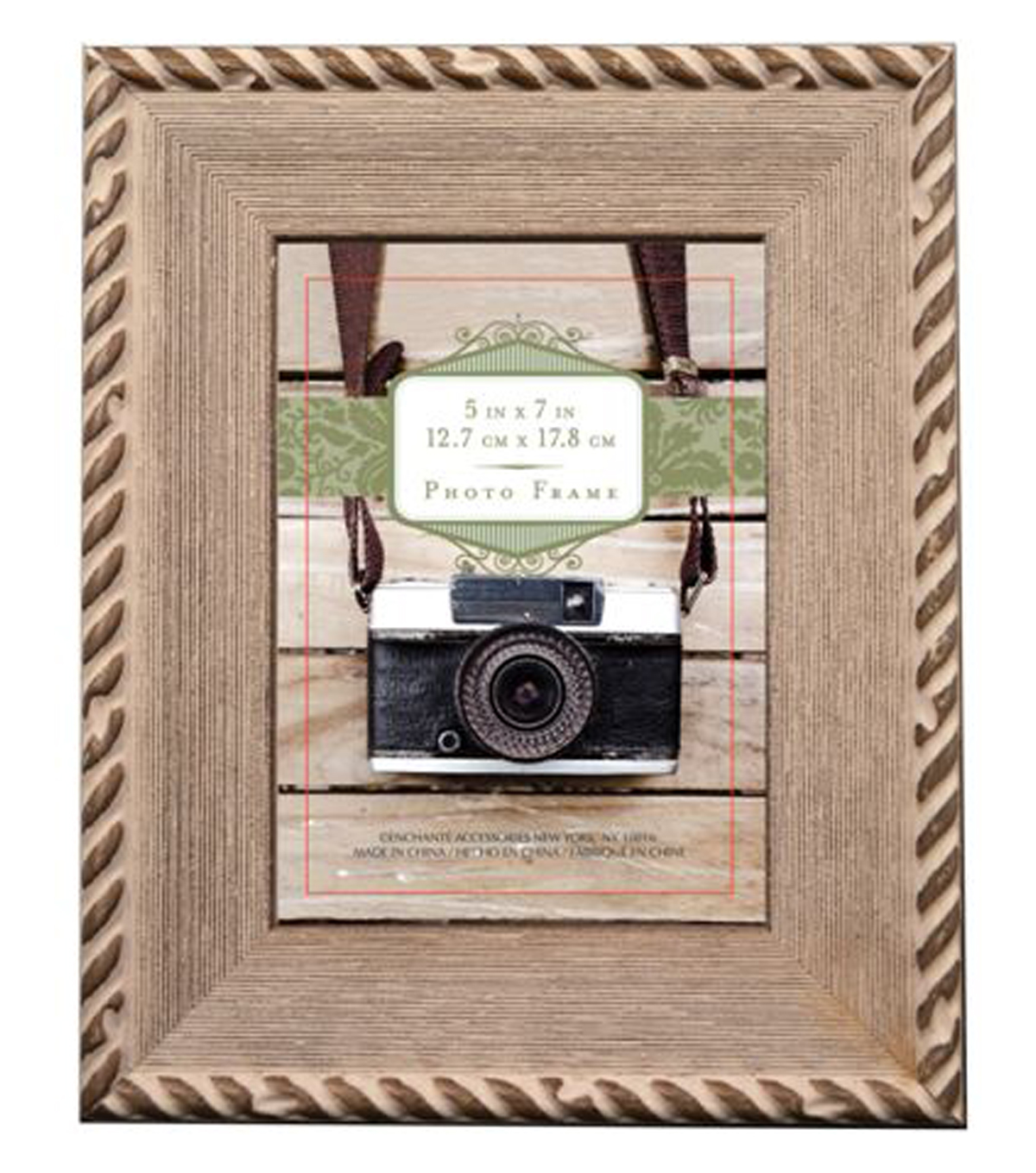 natural wood frame 5x7 brown with rope border - Natural Wood Frame