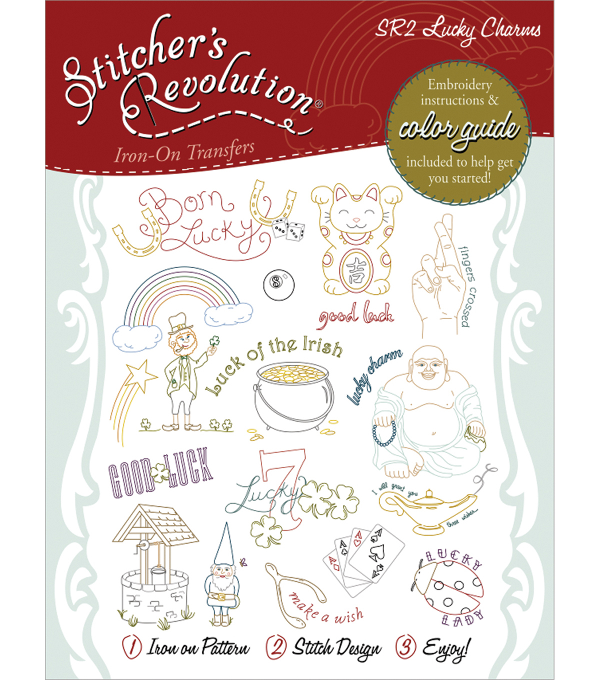 Aunt Martha\u0027s Sticher\u0027s Revolution Iron-On Transfers-Lucky Charms