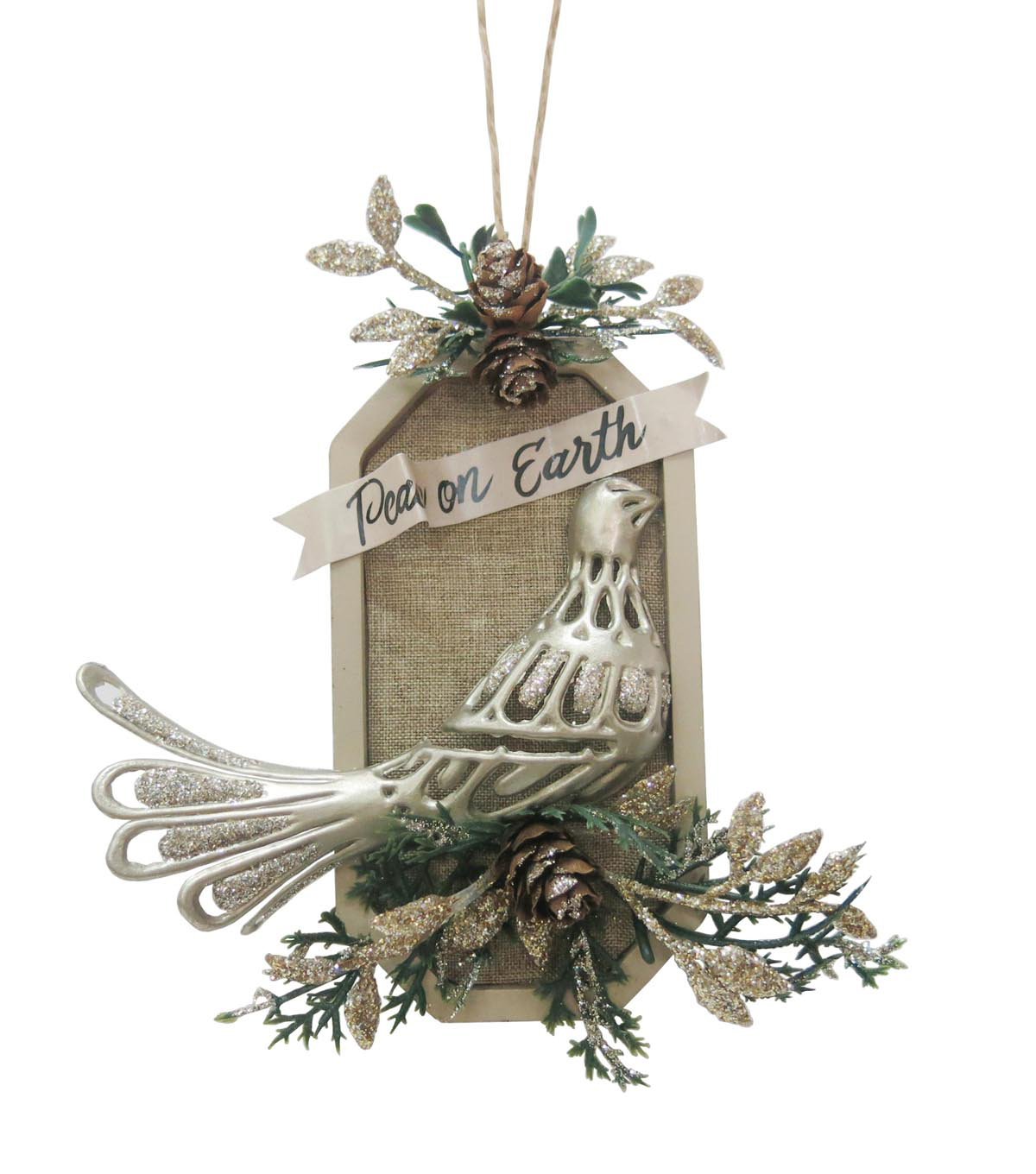 Maker\u0027s Holiday Christmas Glistening Pines Dove Ornament-Peace on Earth