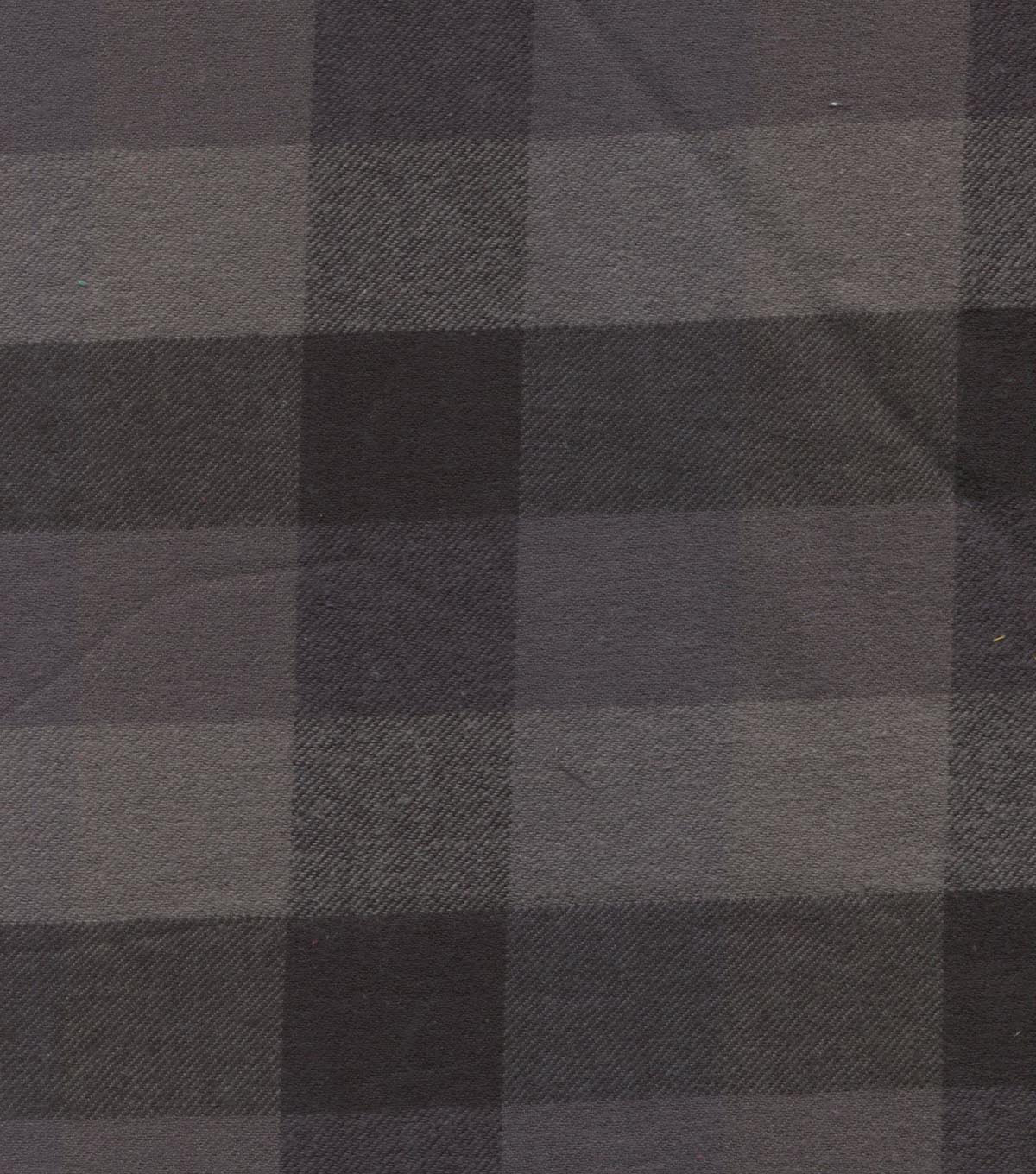 Shirtings Flannel Fabric-Black Grey Buffalo Plaid