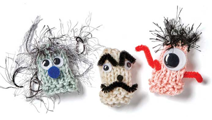 Kids' Knit Finger Puppets