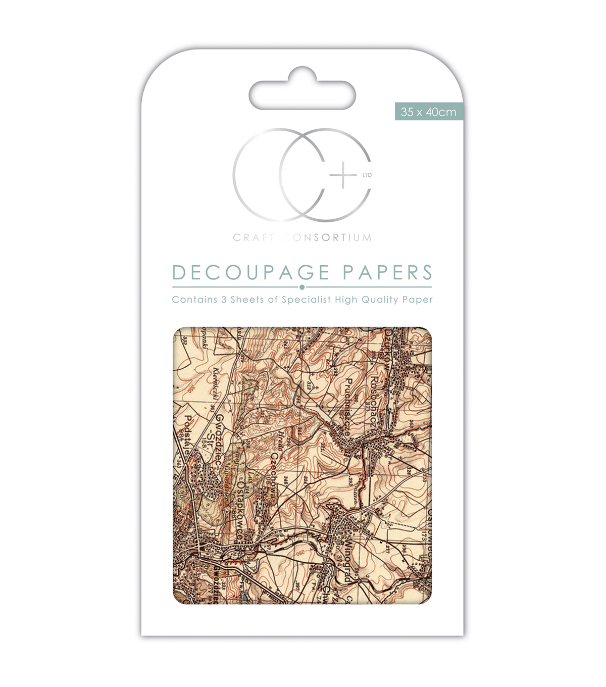 Craft Consortium 3pcs 13.75\u0027\u0027x15.75\u0027\u0027 Decoupage Papers-Vintage Map 2