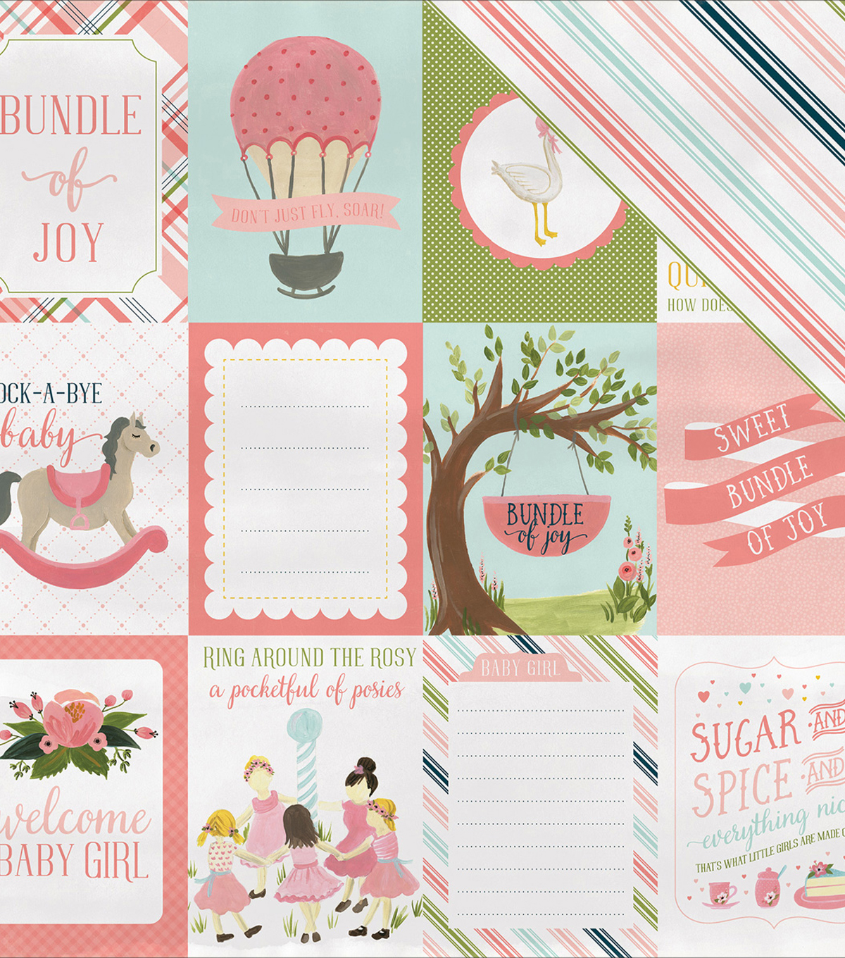 Rock-A-Bye Baby Girl Double-Sided Cardstock 12\u0022X12\u0022-Journaling Cards