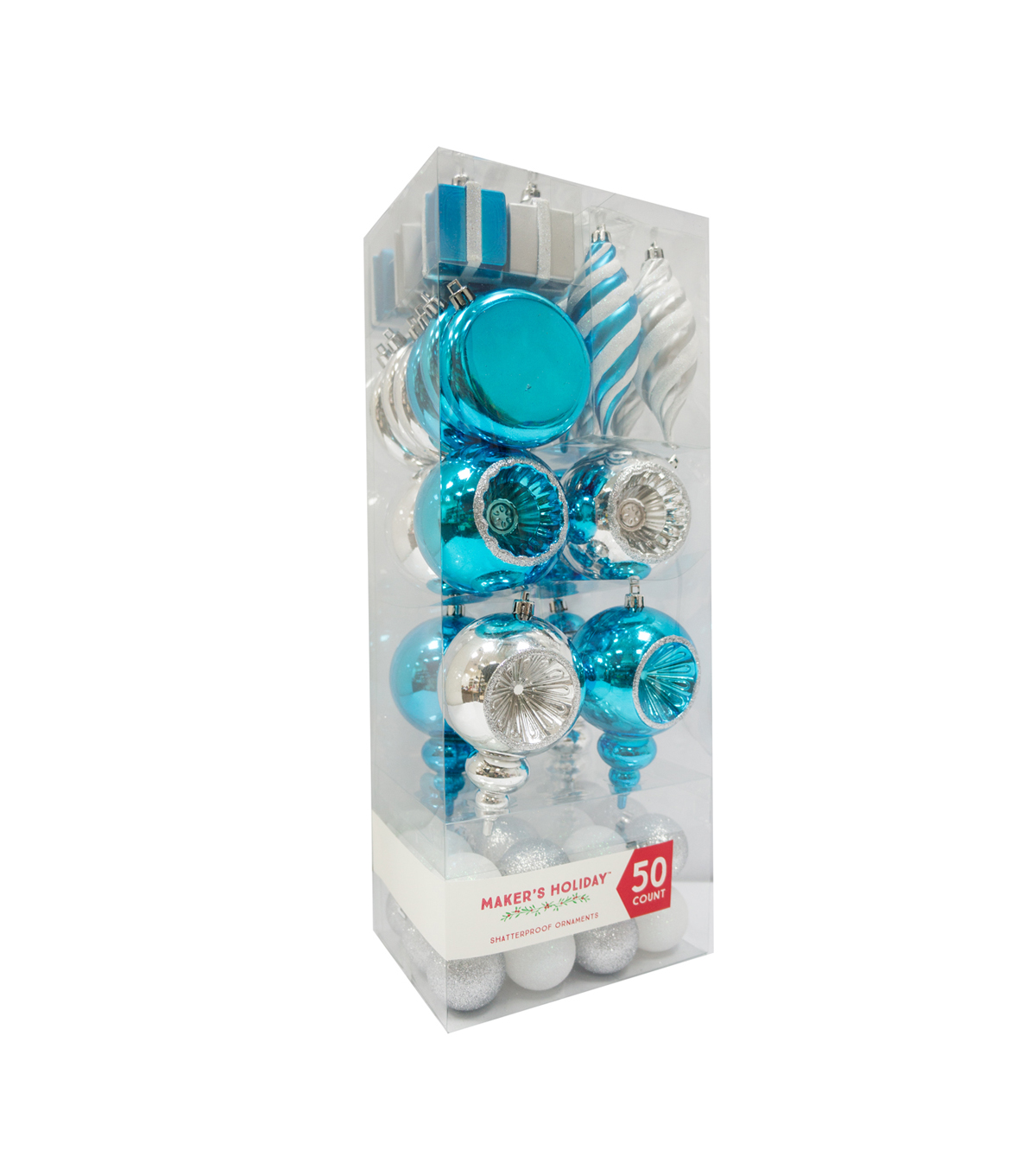 Maker\u0027s Holiday 50ct Shatterproof Ornaments-Turquoise & Silver