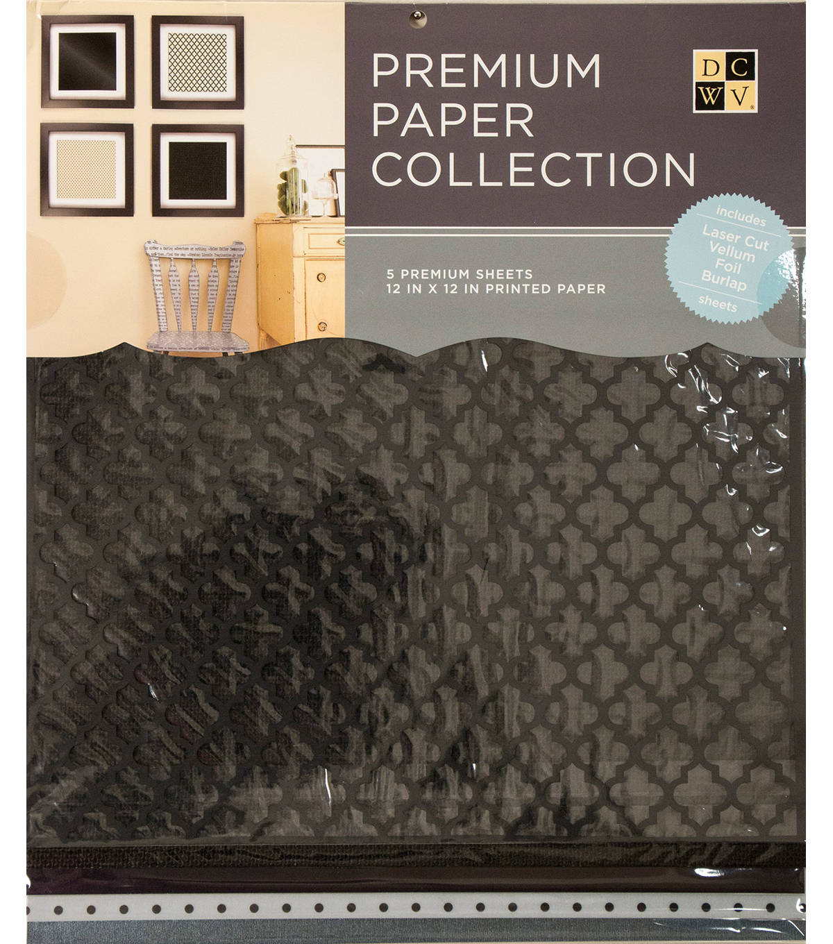 DCWV 12\u0022x12\u0022 set of 5 Premium Papers-Black Multipack Assortment