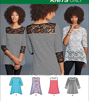 Simplicity Patterns Us8016A-Simplicity Misses\u0027 Knit Tops With Lace Variations-Xxs-Xs-S-M-L-Xl-Xxl