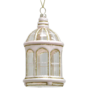Maker\u0027s Holiday Christmas Holiday Charm Glass Birdcage Ornament-Pink