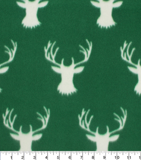 "Blizzard Fleece Fabric 59""-Stag Head On Hunter Green"