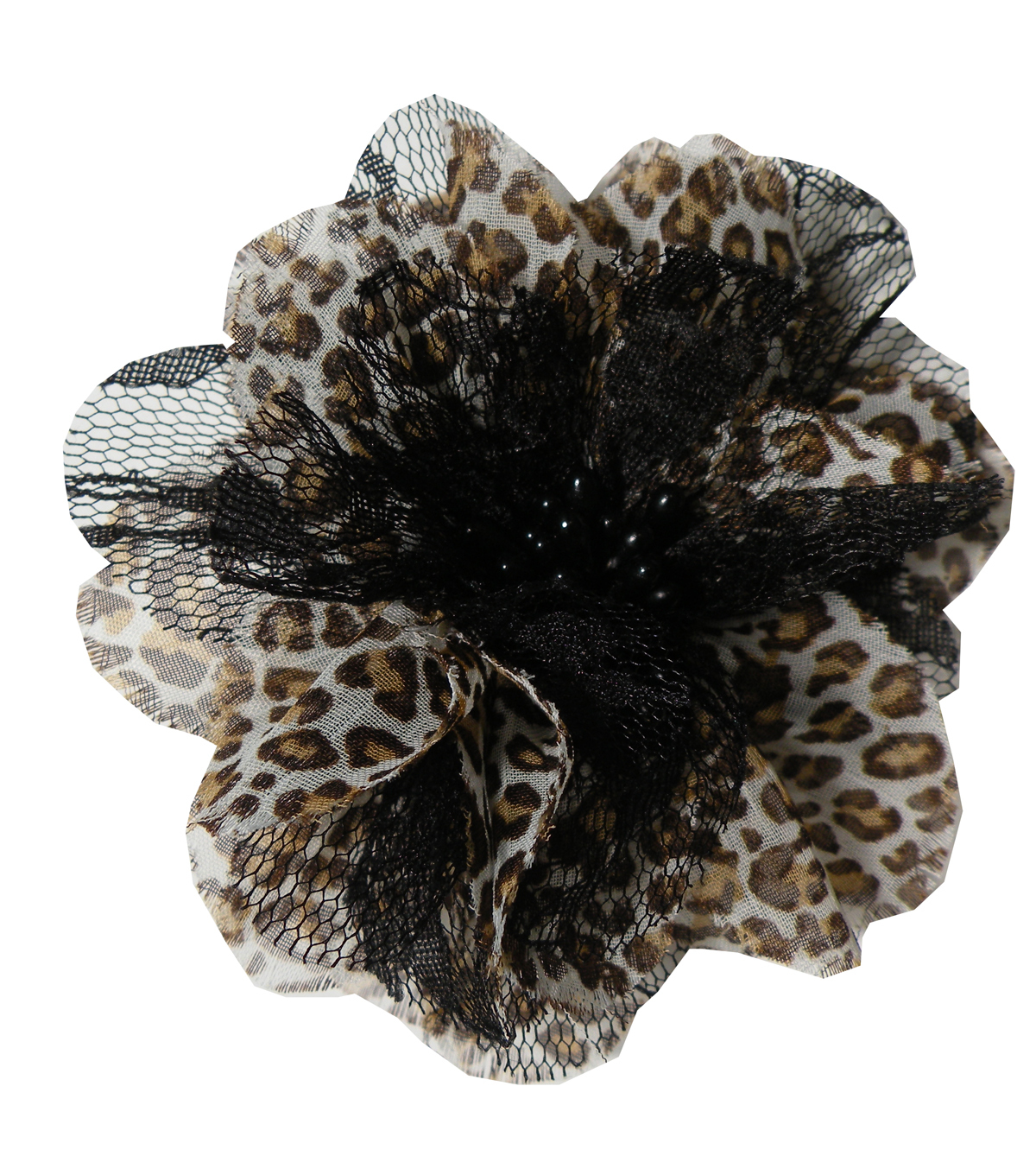 Sheer Lace Flower Pin Beige Mini Leopard