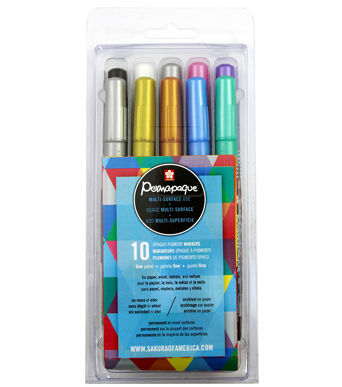 Permapaque 10 Pack Fine-Point Markers-Metallic Colors