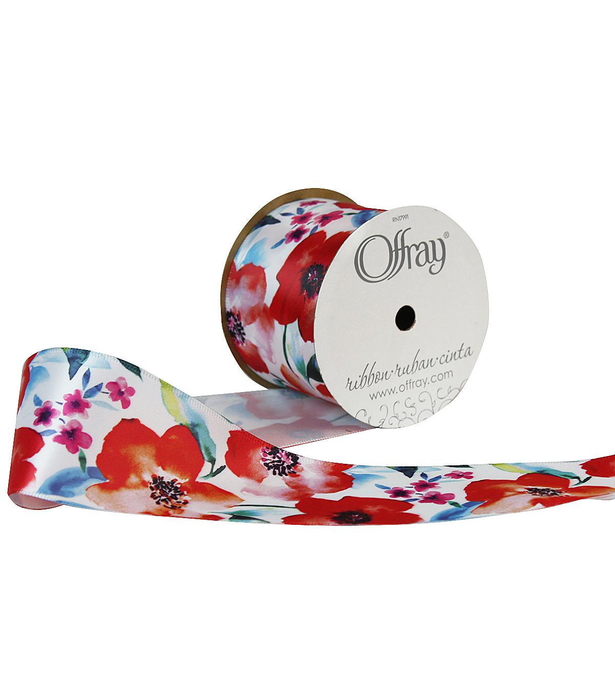"Offray 2.25""x9' Bohemian Floral Satin Wired Edge Ribbon-Red"