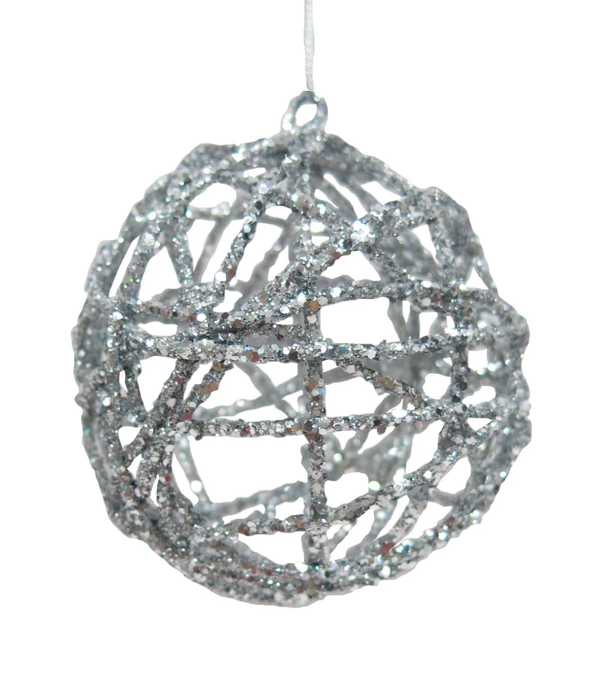 Maker\u0027s Holiday Christmas Arctic Frost Wicker Ball Ornament-Silver