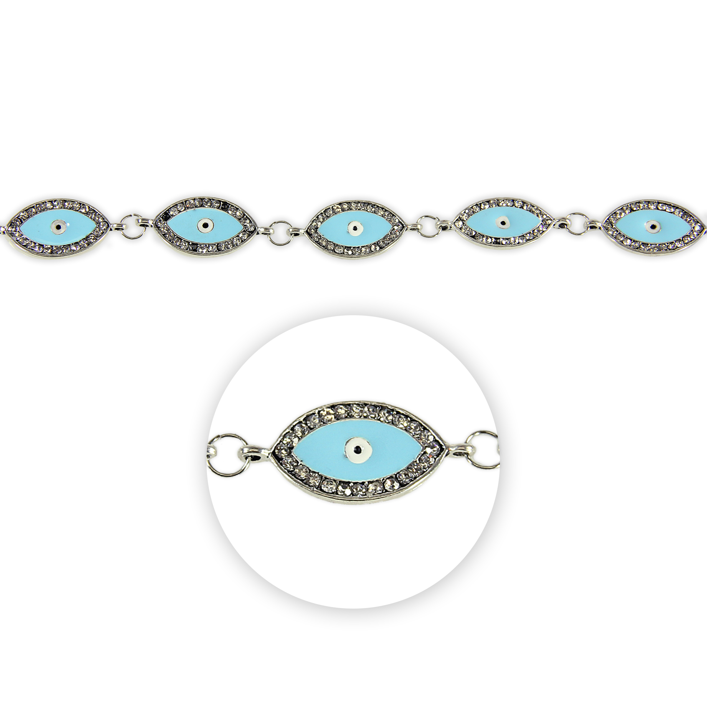 Blue Moon Beads Strand 7\u0022 Metal Evil Eye Connector, Silver with Blue