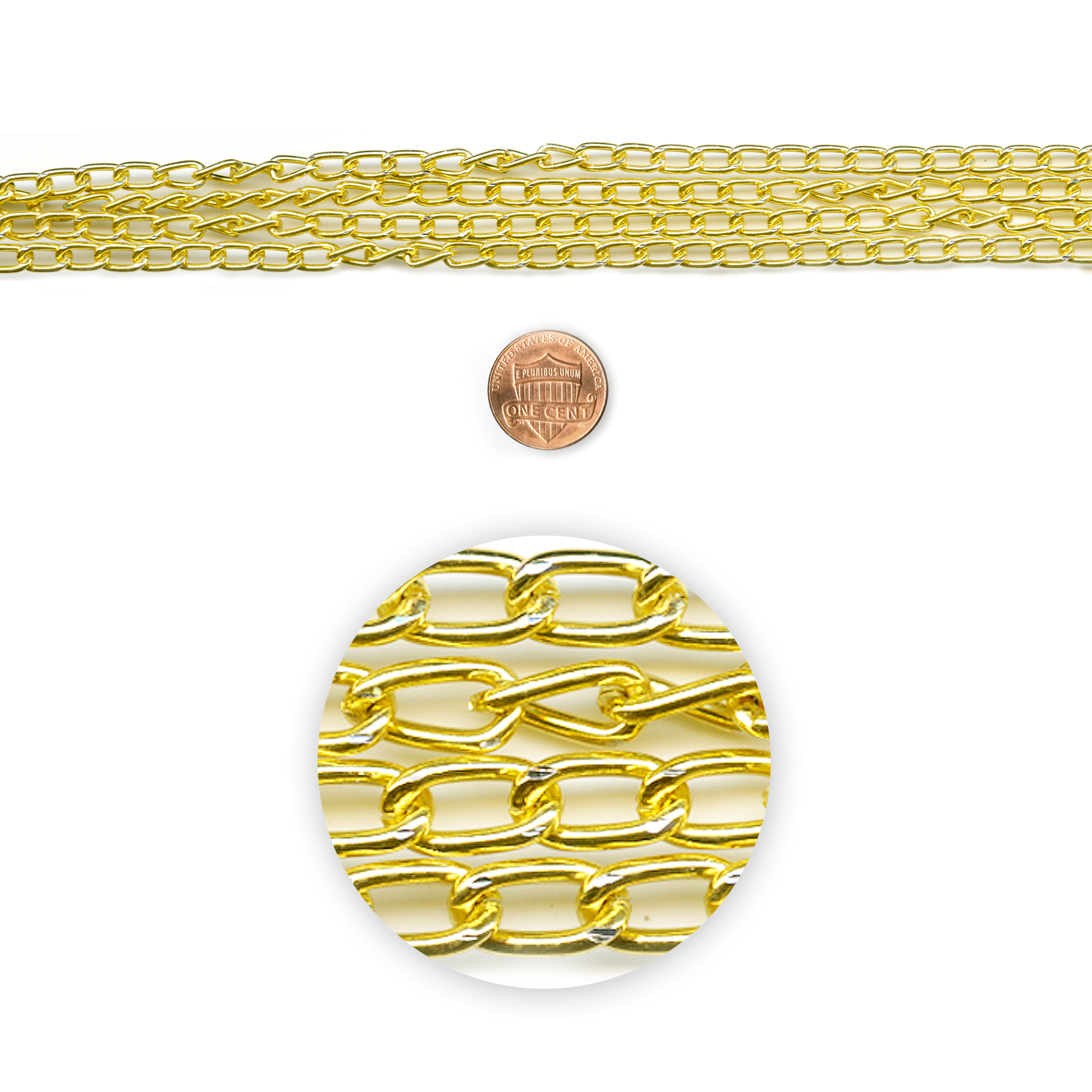 Blue Moon Beads Chain 72In Metal Curb Gold