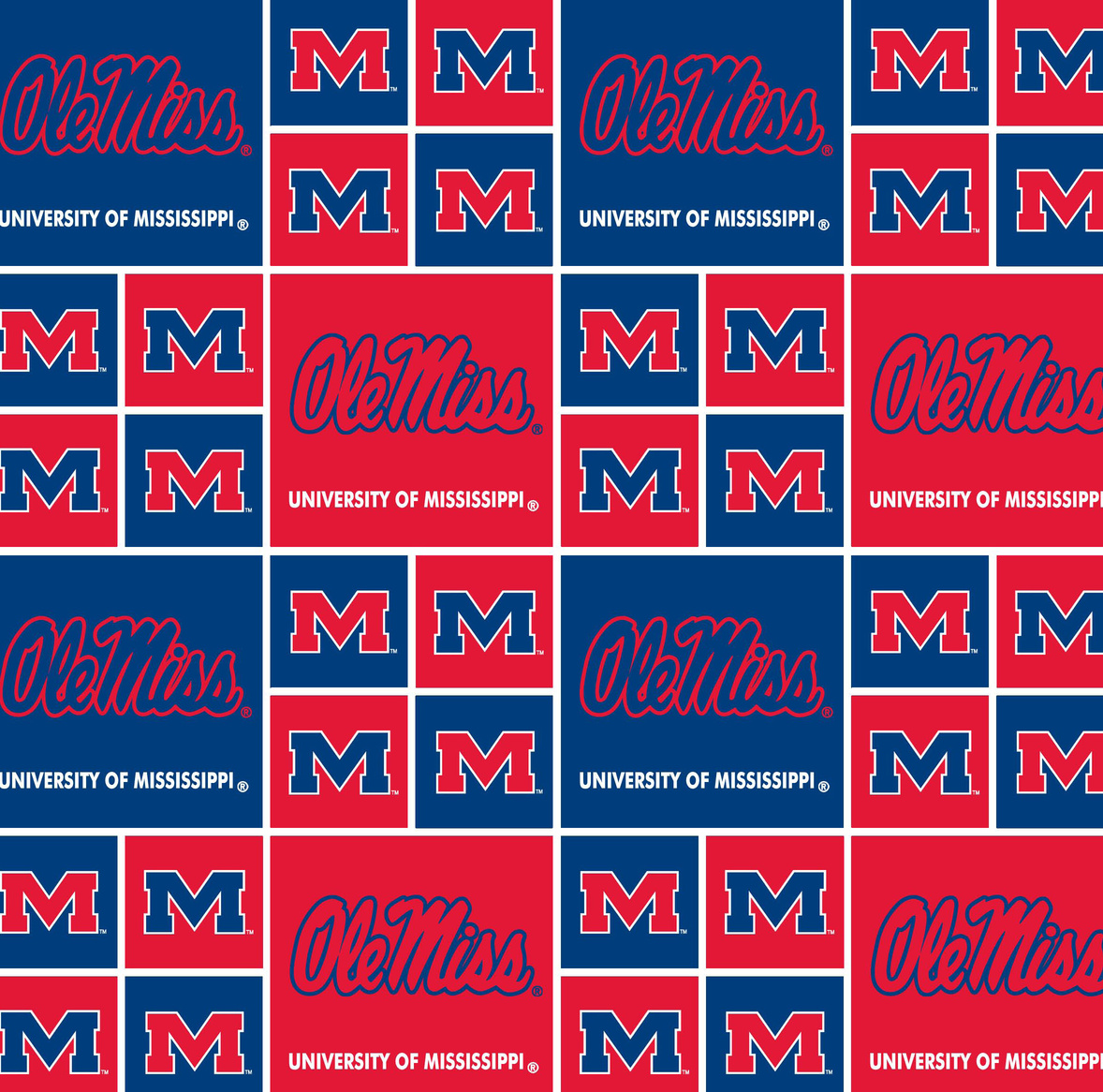 "Ole Mississippi Rebels Cotton Fabric 43""-Block"