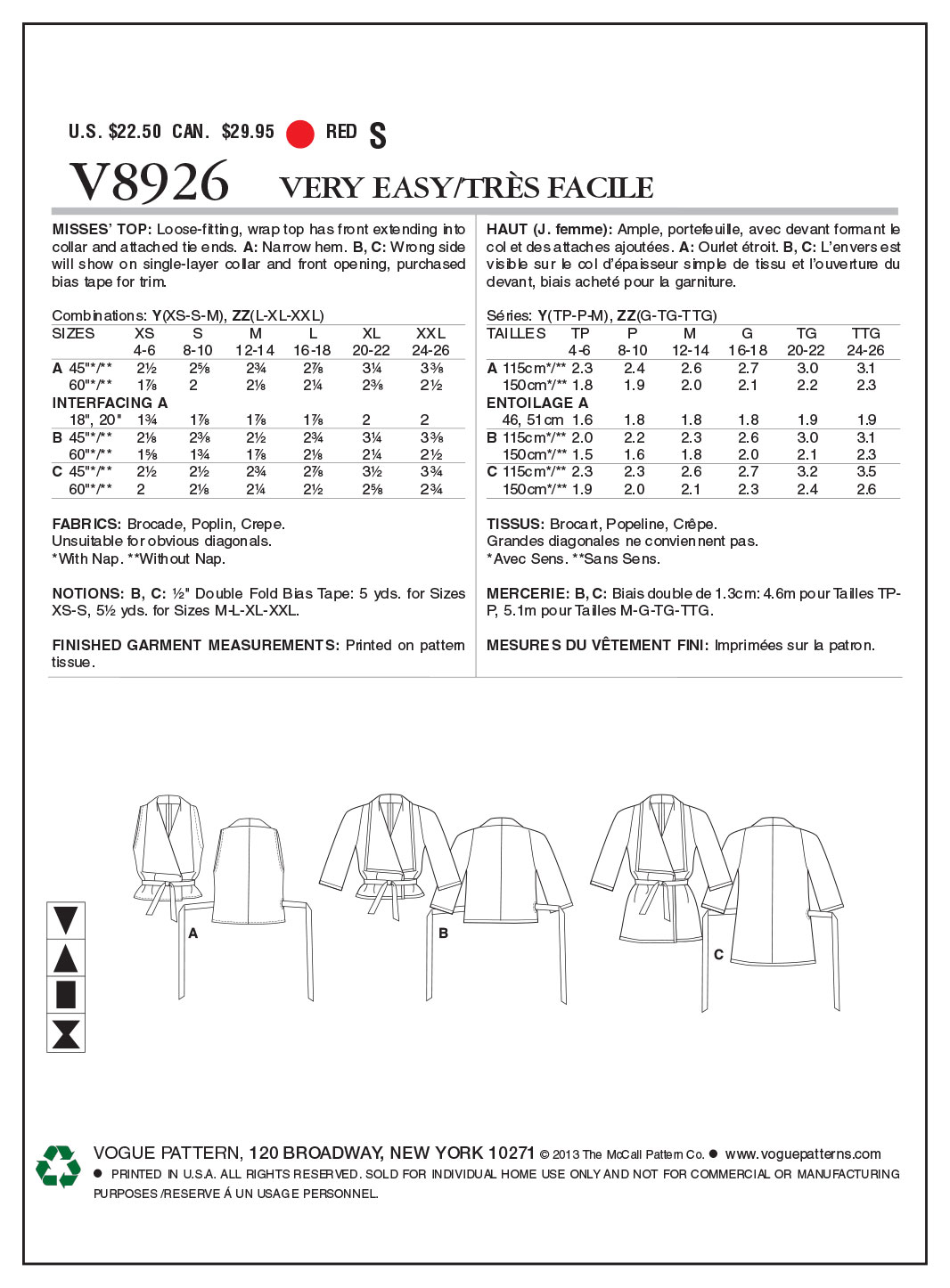 Vogue Patterns Misses Top-V8926