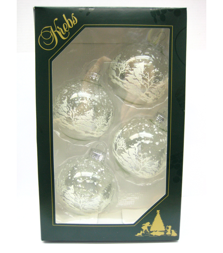 Maker\u0027s Holiday 4ct Glass Tree Ornaments-Silver