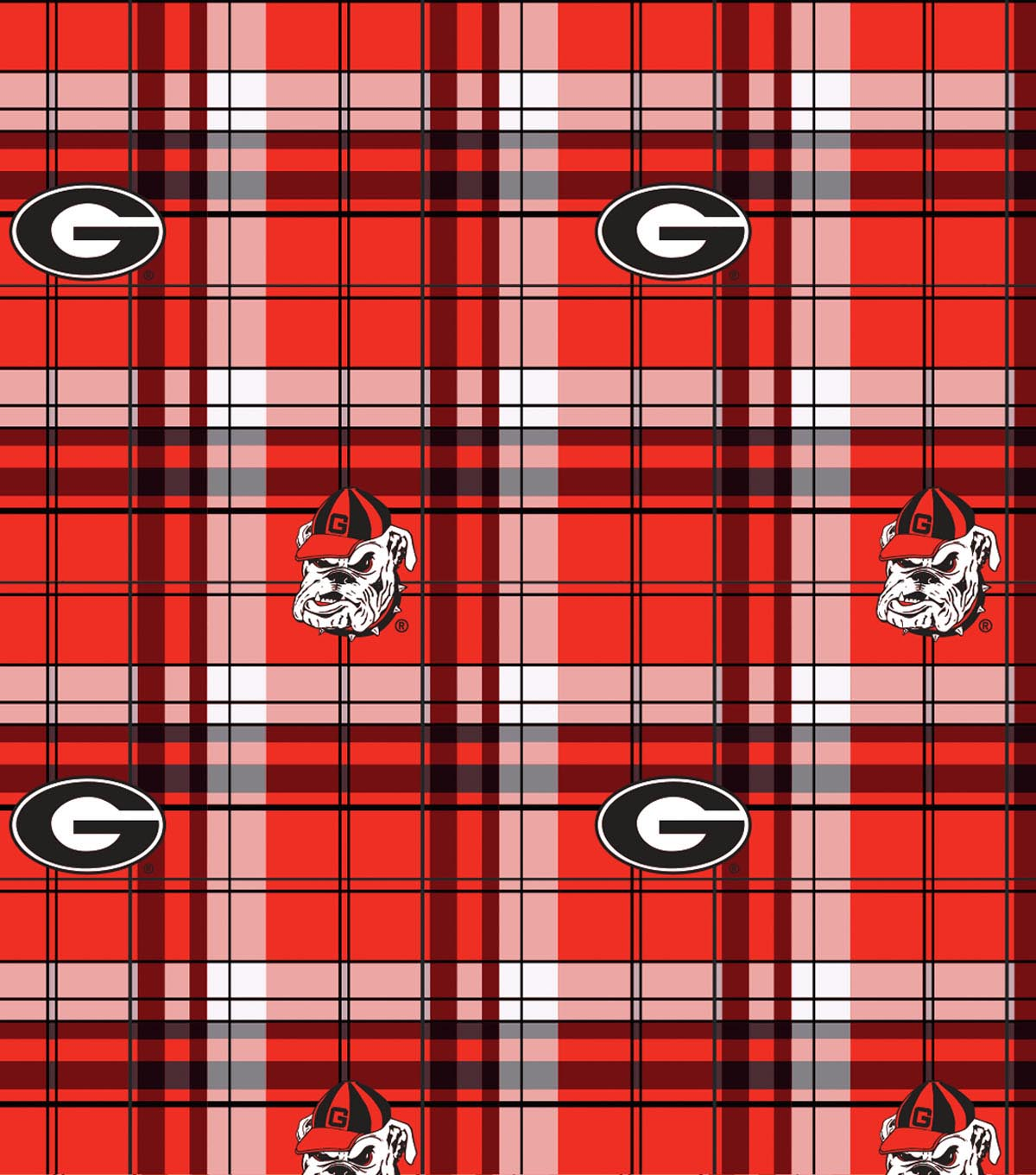 University of Georgia Bulldogs Fleece Fabric 60\u0022-Plaid