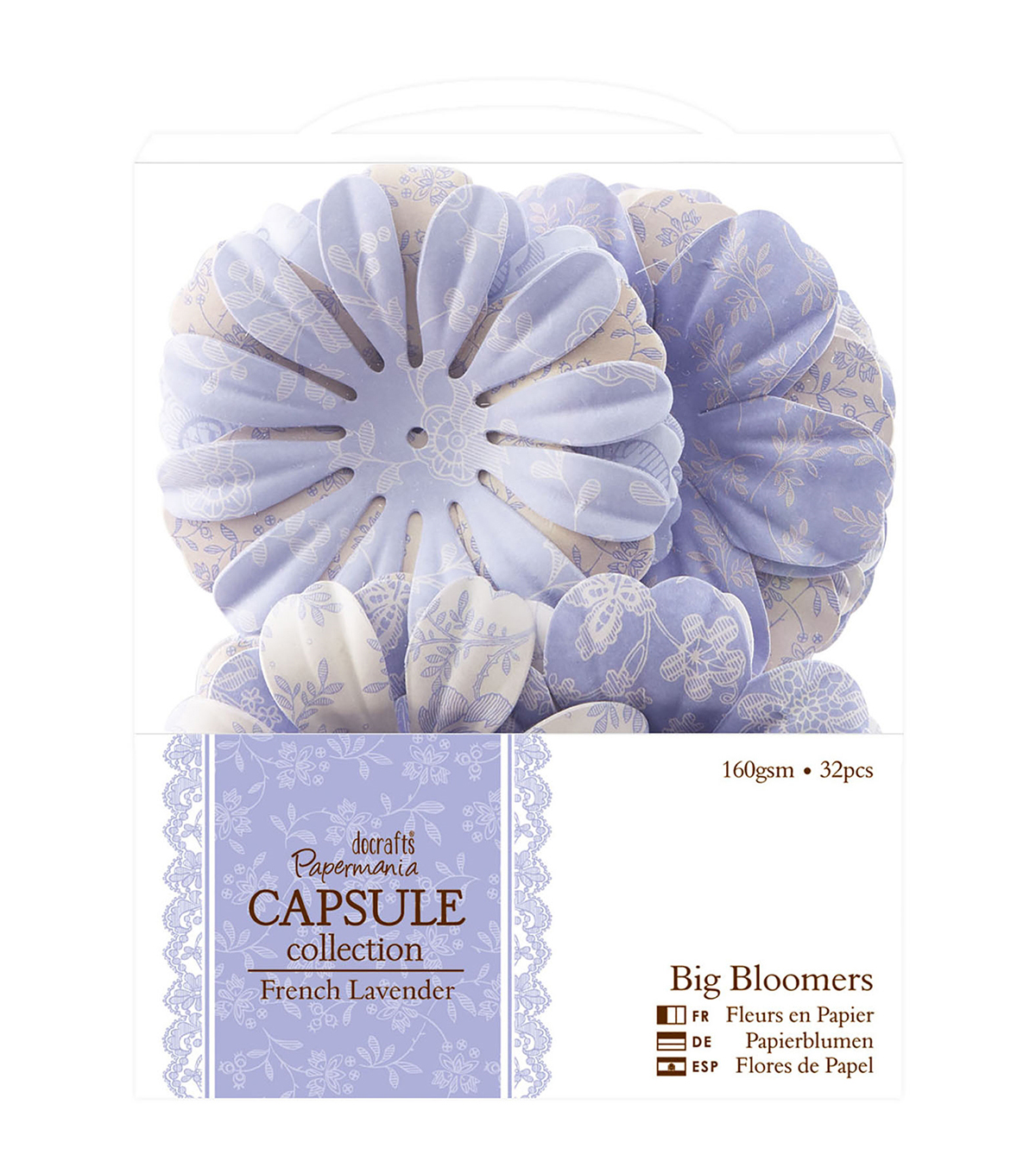Papermania Capsule French Lavender Big Bloomers Paper Flowers