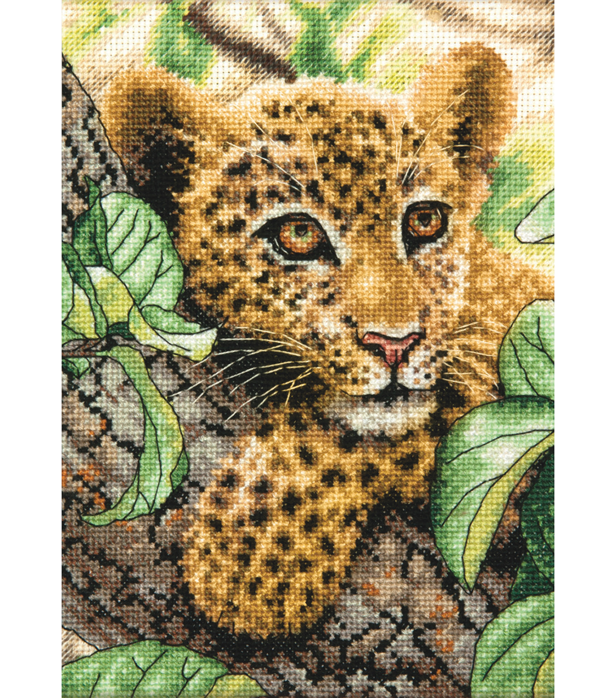 Gold Collection Petite Leopard Cub Counted Cross Stitch Kit-5\u0022X7\u0022 18 Count